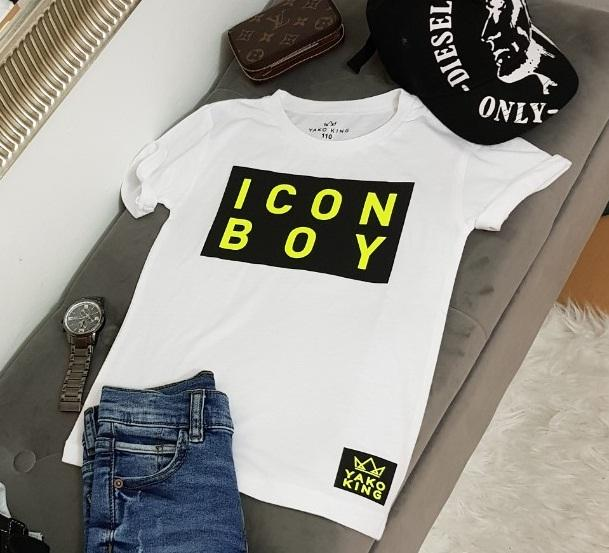 Bílé triko ICON BOY Black/Neon Modal