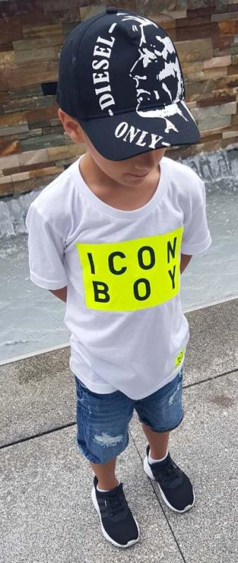 Bílé triko ICON BOY Neon/Black Modal